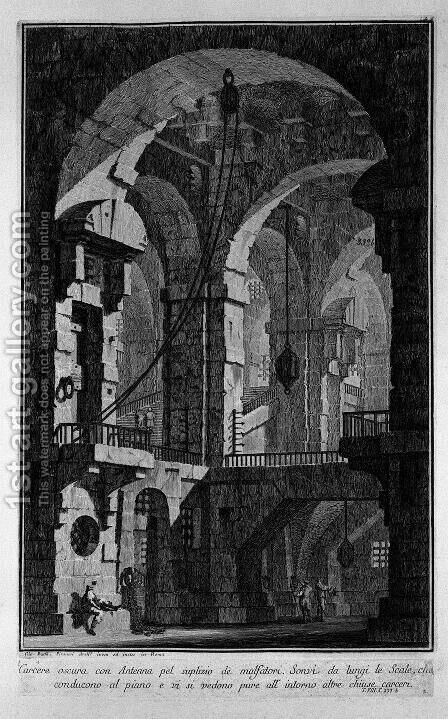 Antenna dark prison by Giovanni Battista Piranesi - Reproduction Oil Painting