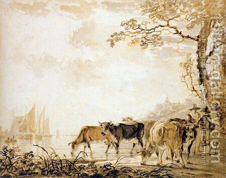 Landscape with cows by Jacob van Strij - Reproduction Oil Painting