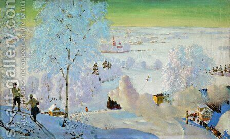 Skiers by Boris Kustodiev - Reproduction Oil Painting