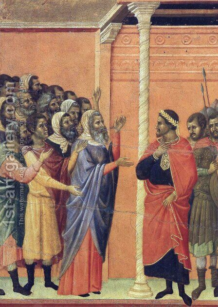 The high priests before Pilate by Duccio Di Buoninsegna - Reproduction Oil Painting