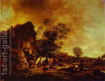 A Village Inn by Adriaen Jansz. Van Ostade - Reproduction Oil Painting
