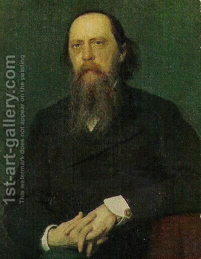 Portrait of the Author Mikhail Saltykov Shchedrin by Ivan Nikolaevich Kramskoy - Reproduction Oil Painting