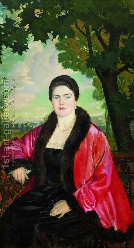 Portrait of M.V. Chaliapina by Boris Kustodiev - Reproduction Oil Painting