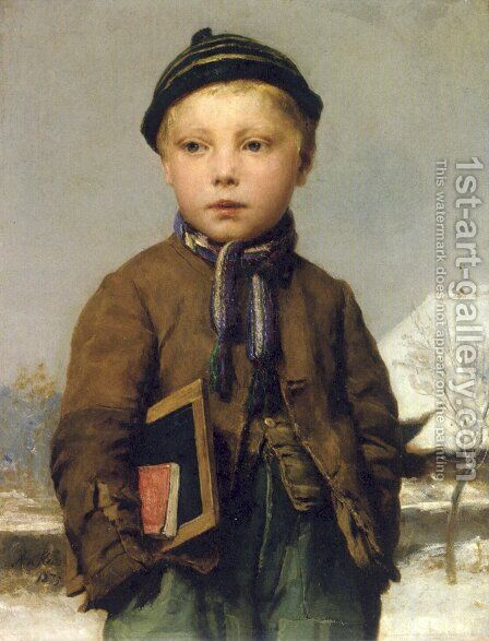 School boy with slate board in a snowy landscape by Albert Anker - Reproduction Oil Painting