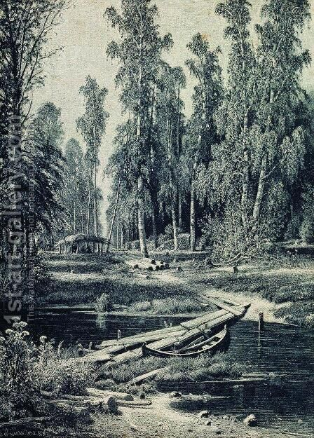 Forest River by Ivan Shishkin - Reproduction Oil Painting