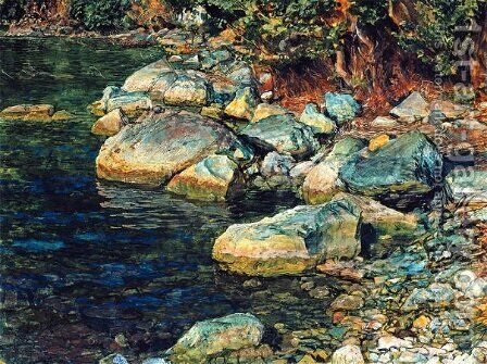 Water and stones under Palaccuolo by Alexander Ivanov - Reproduction Oil Painting