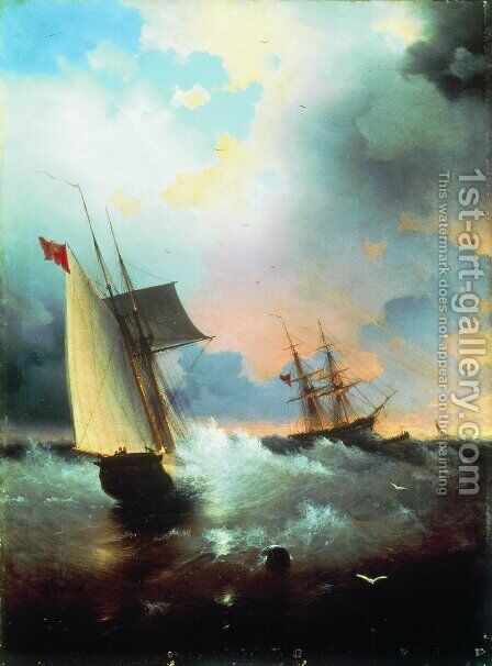 Sailboat by Ivan Konstantinovich Aivazovsky - Reproduction Oil Painting