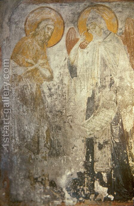 Angel presents Monk Pachomius cenobitic monastic charter. by Andrei Rublev - Reproduction Oil Painting