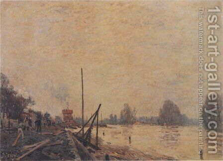 The Seine at Suresnes by Alfred Sisley - Reproduction Oil Painting