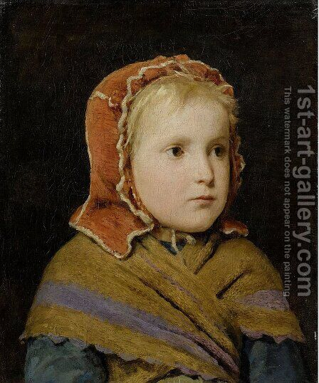 Madchen mit roter Haube by Albert Anker - Reproduction Oil Painting