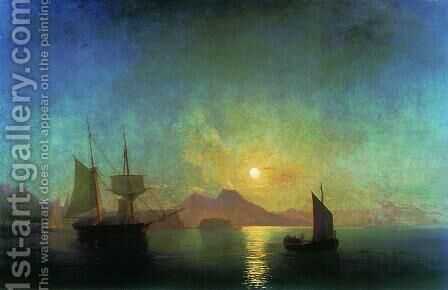 The Bay of Naples by Moonlight 2 by Ivan Konstantinovich Aivazovsky - Reproduction Oil Painting