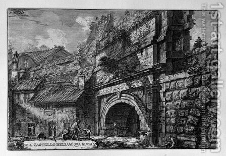 Perspective of the monument by Giovanni Battista Piranesi - Reproduction Oil Painting