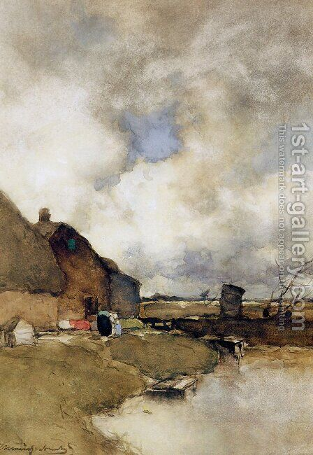 Farm near Noorden by Jan Hendrik Weissenbruch - Reproduction Oil Painting