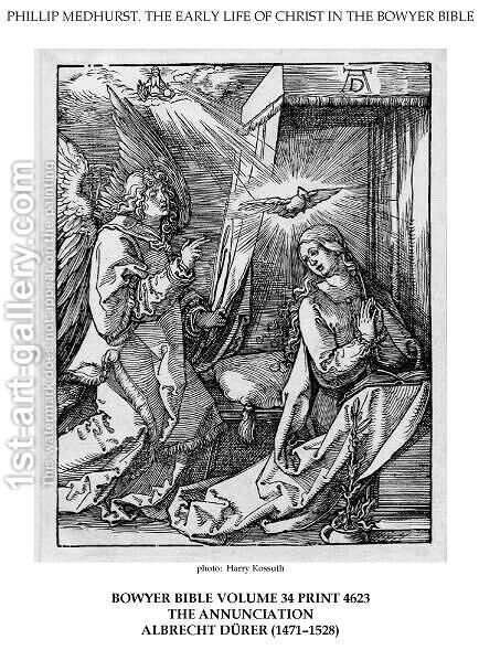 On the left the archangel Gabriel approach the praying Virgin Mary in her bedchamber by Albrecht Durer - Reproduction Oil Painting