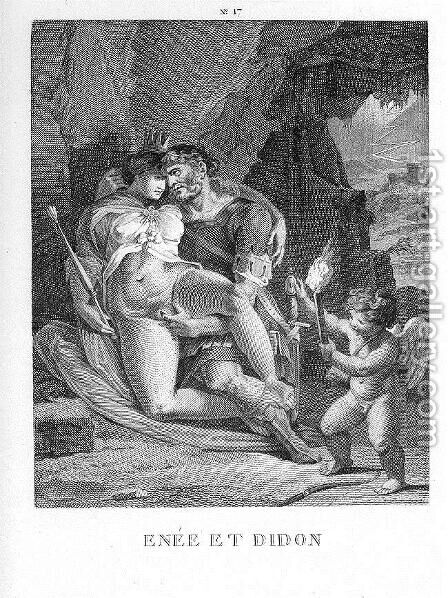 Aeneas and Dido by Agostino Carracci - Reproduction Oil Painting