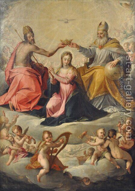 Coronation of Mary by Hans Von Aachen - Reproduction Oil Painting