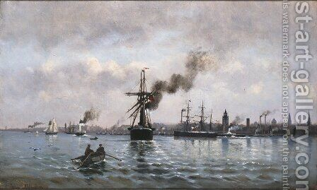 Port of Copenhagen by Ioannis (Jean H.) Altamura - Reproduction Oil Painting