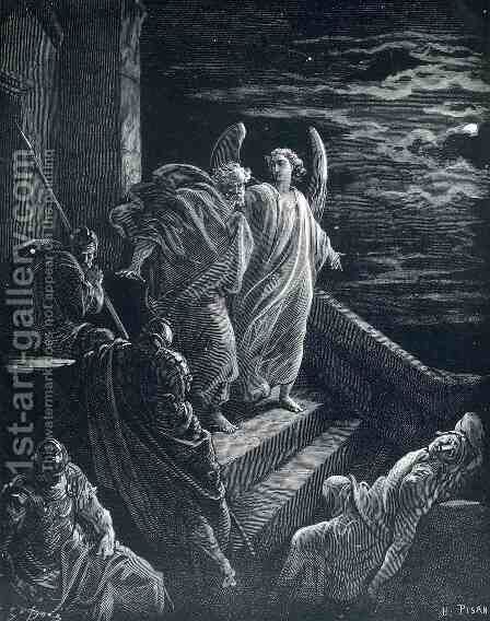 St.Peter Delivered From Prison by Gustave Dore - Reproduction Oil Painting
