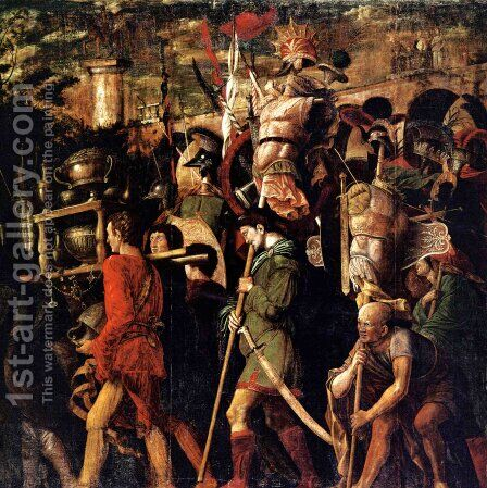Holders of currencies and gold jewelry, trophies royal armor by Andrea Mantegna - Reproduction Oil Painting