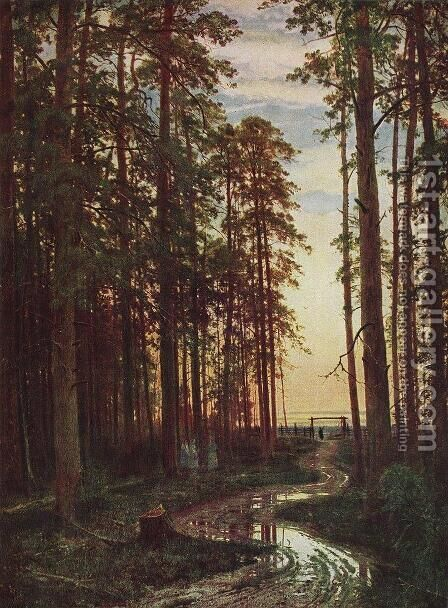 Evening in a pine forest by Ivan Shishkin - Reproduction Oil Painting