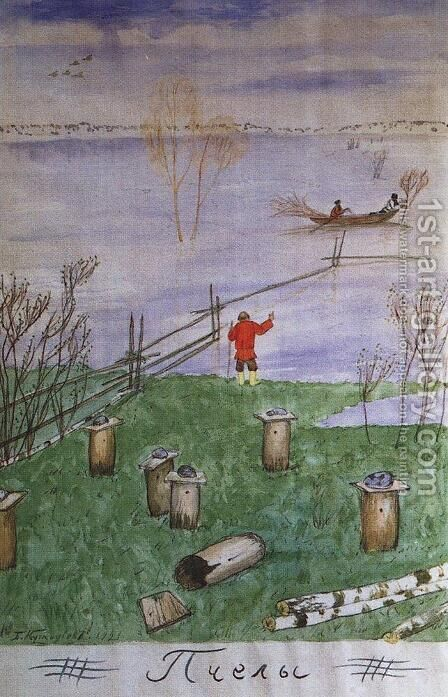 Illustration for Nikolay Nekrasov poem Bees by Boris Kustodiev - Reproduction Oil Painting