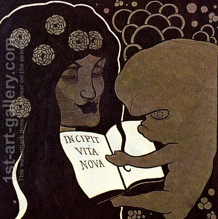 Incipit Vita Nova by Aubrey Vincent Beardsley - Reproduction Oil Painting