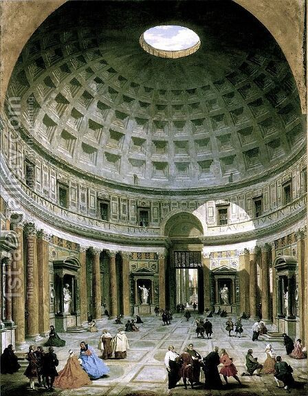 The interior of the Pantheon (Rome) by Giovanni Paolo Panini - Reproduction Oil Painting