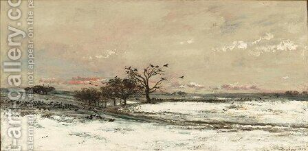 Snowy Landscape at Sunset by Charles-Francois Daubigny - Reproduction Oil Painting