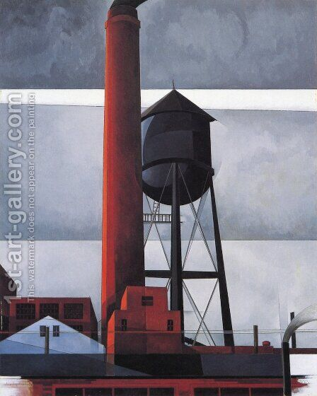 Chimney and Water Tower by Charles Demuth - Reproduction Oil Painting