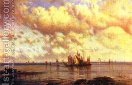 Sailboats in the bay by Aleksei Petrovich Bogolyubov - Reproduction Oil Painting