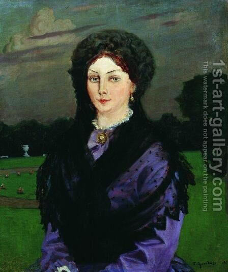 Portrait of a Woman by Boris Kustodiev - Reproduction Oil Painting