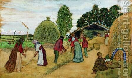 Threshing by Boris Kustodiev - Reproduction Oil Painting