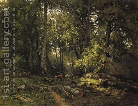 Herd in the forest by Ivan Shishkin - Reproduction Oil Painting