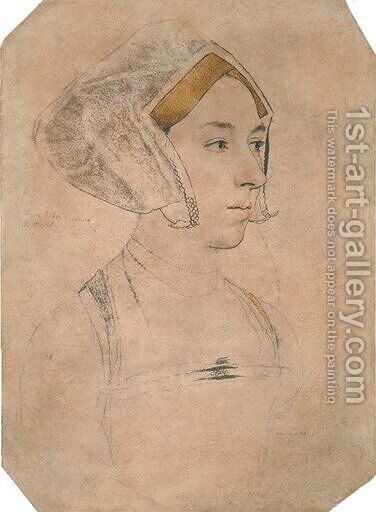 Portrait of a Lady, thought to be Anne Boleyn by Hans, the Younger Holbein - Reproduction Oil Painting