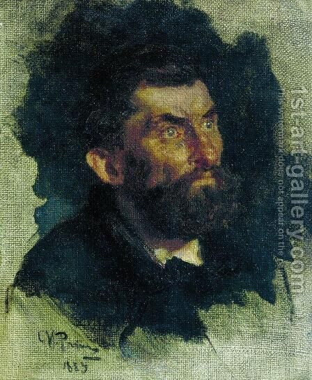 Head of a Man 2 by Ilya Efimovich Efimovich Repin - Reproduction Oil Painting