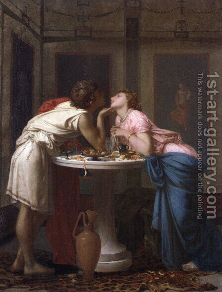 A Classical Courtship by Auguste Toulmouche - Reproduction Oil Painting