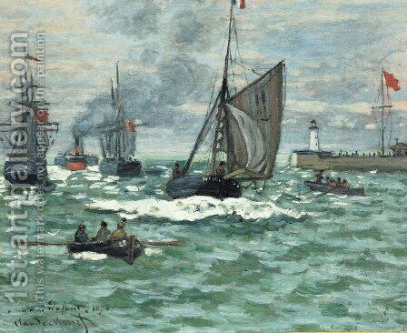 Entrance to the Port of Honfleur by Claude Oscar Monet - Reproduction Oil Painting