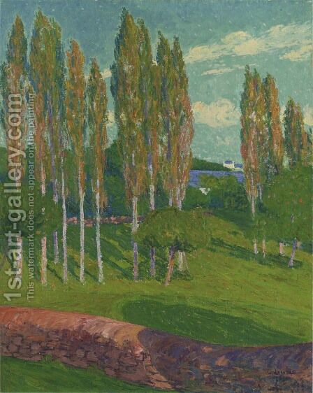 Poplars in Spring by Gustave Loiseau - Reproduction Oil Painting