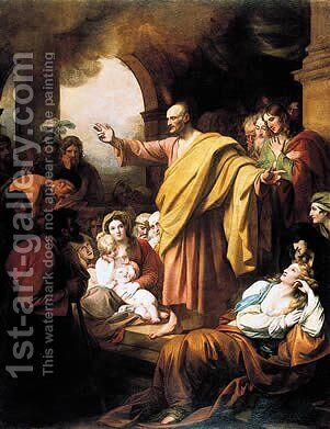 St. Peter Preaching at Pentecost by Benjamin West - Reproduction Oil Painting