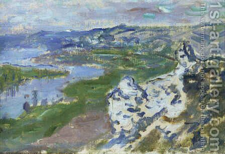 The Seine, seen from the heights Chantemesle by Claude Oscar Monet - Reproduction Oil Painting