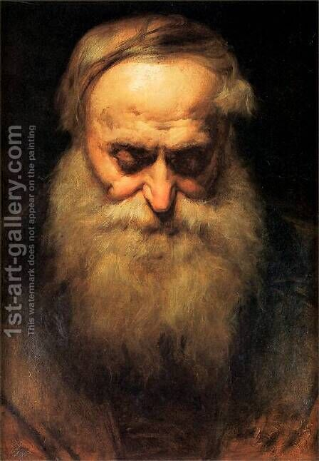 old man's head by Jan Matejko - Reproduction Oil Painting