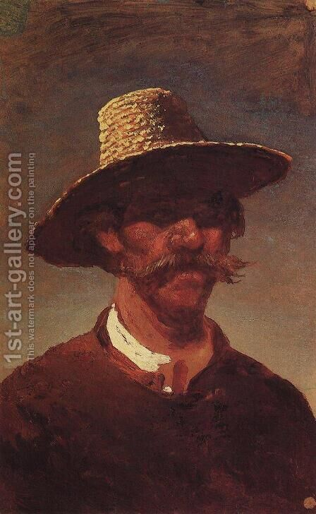 The head of a Ukrainian peasant in a straw hat by Arkhip Ivanovich Kuindzhi - Reproduction Oil Painting