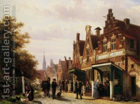 Street scene with figures by Cornelis Springer - Reproduction Oil Painting