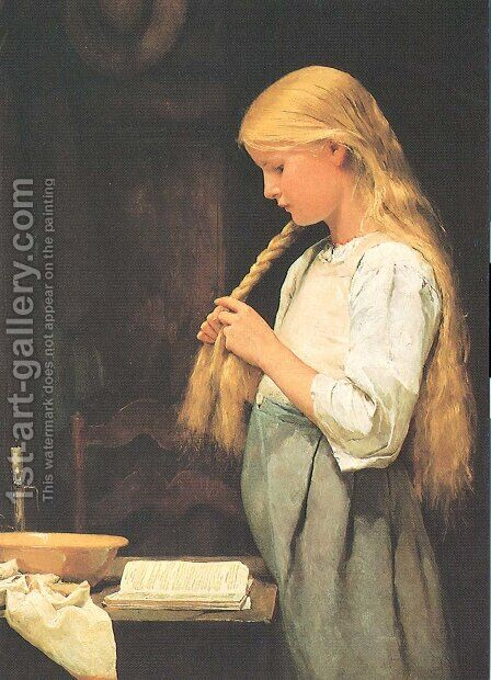 Madchen, die Haare flechtend by Albert Anker - Reproduction Oil Painting