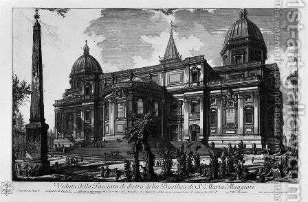 Interior view of the Basilica of St. Maria Maggiore by Giovanni Battista Piranesi - Reproduction Oil Painting