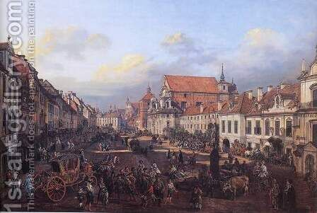 View of Cracow Suburb leading to the Castle Square by Bernardo Bellotto (Canaletto) - Reproduction Oil Painting