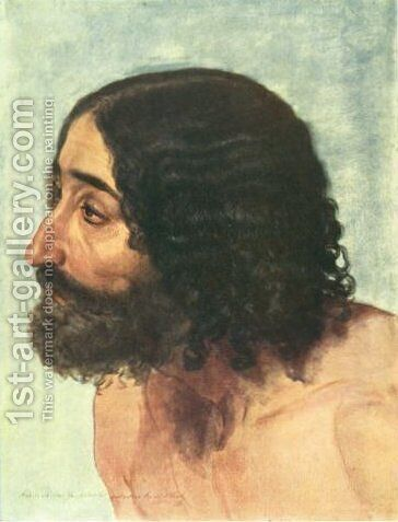 Head of a man. Study of the figure of paralytic for the painting The Appearance of Christ to the People. by Alexander Ivanov - Reproduction Oil Painting