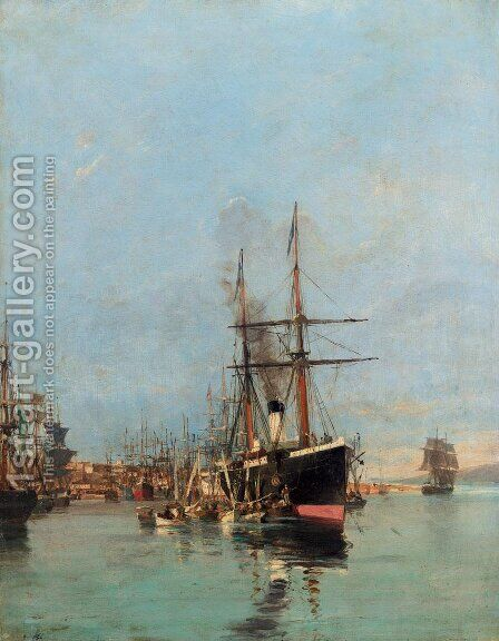 The port of Piraeus by Constantinos Volanakis - Reproduction Oil Painting