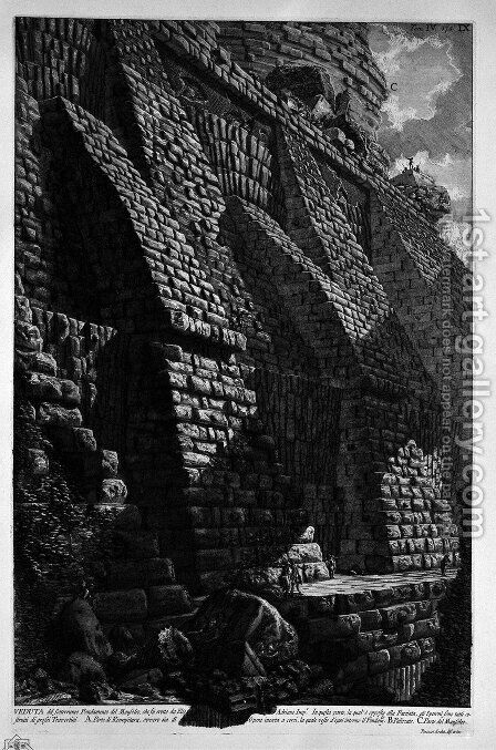 The Roman antiquities, t. 4, Plate X. Cutaway of the spurs that serve as buttresses to the great foundation of the Mausoleum of Adrian 'helium. by Giovanni Battista Piranesi - Reproduction Oil Painting