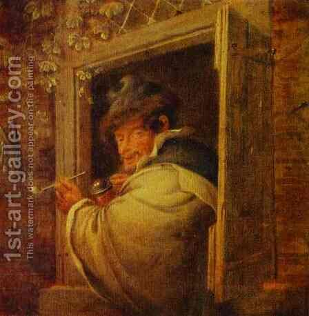 A Man in the Window by Adriaen Jansz. Van Ostade - Reproduction Oil Painting